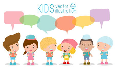 pre adolescent child: Cute kids with speech bubbles, Set of diverse Kids and Different nationalities with speech bubbles isolated on white background, Kids go to school with speech balloon, back to school, Vector