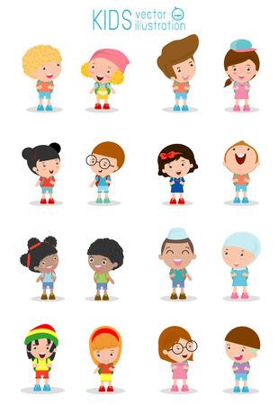 ir al colegio: Conjunto de diversos niños y diferentes nacionalidades aisladas sobre fondo blanco, los niños van a la escuela, de nuevo a la escuela, los niños lindos de la historieta, niños felices, ilustración vectorial. Vectores