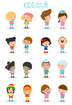 caucasians: Set of diverse Kids and Different nationalities isolated on white background, Kids go to school, back to school, Cute cartoon children, happy children, Vector Illustration.