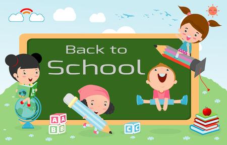 kid vector: niños y pizarra, niños y comida, la educación infantil, la educación concepto, a la plantilla de la escuela con los niños, los niños van a la escuela, de nuevo a la escuela, los niños lindos de la historieta, niños felices, Vector Vectores