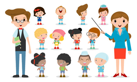 Multicultural school kids group, teacher and students, children go to school, back to school template with kids isolated on white background, Vector Illustration Illustration