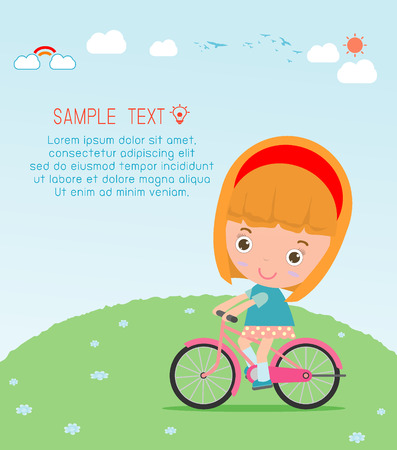 girl bike: Kids riding bikes, Child riding bike, kids on bicycle vector on background,Illustration of a group of kids biking on a white background.