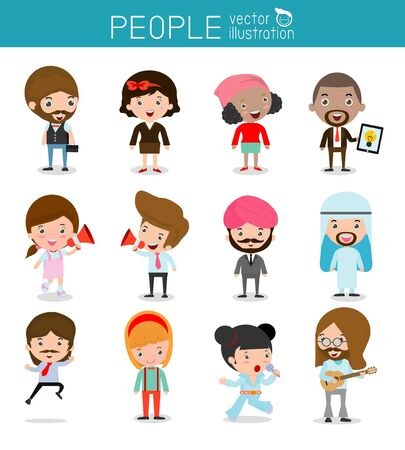 job icon: people characters, large group of people, Set of diverse business people in flat style isolated on white background, Different nationalities and dress styles .flat modern design Illustration
