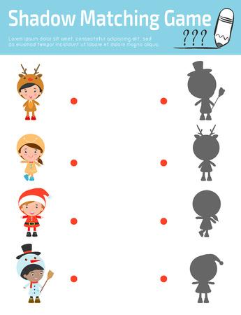 Matching Game ombra per i bambini, gioco visivo per bambino. Collegare l'immagine puntini, illustrazione vettoriale Istruzione. bambini alla moda costumi di Natale, illustrazione vettoriale felice anno nuovo Archivio Fotografico - 49099733