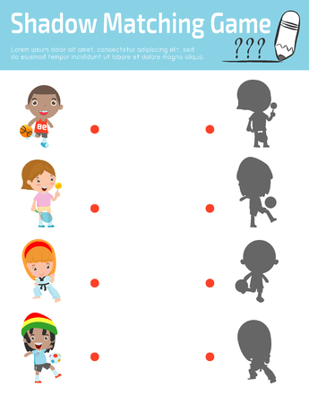 connects: Shadow Matching Game for kids, Visual game for kid. Connect the dots picture,Education Vector Illustration.sport kids