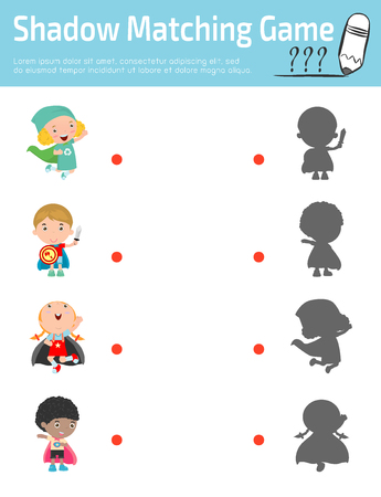 superhero: Shadow Matching Game for kids, Visual game for kid. Connect the dots picture,Education Vector Illustration.Superhero Childrens, Superhero Kids. Kids With Superhero Costumes