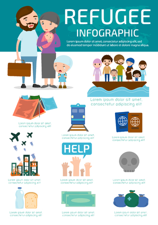 migrant: refugee , group of refugees, infographic background. war victims concept. elements. set of flat icons cartoon character design, Civil war, refugees on boat. emigrants. Human immigration, illustration