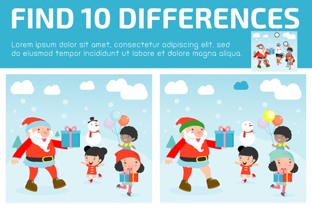 find: find differences,Game for kids ,find differences,Brain games, children game, Educational Game for Preschool Children, Vector Illustration, Santa handing out gifts to children