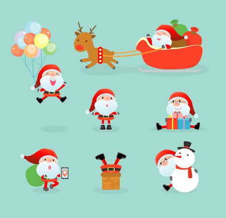 Vector children: Bộ sưu tập của ông già Noel khoản, thiết lập của Giáng sinh ông già Noel, ông già Noel trên nền mùa đông. Giáng sinh vui vẻ, Vector Illustration Hình minh hoạ