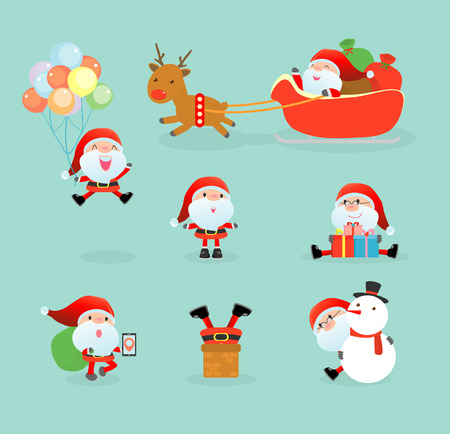 vector set: Collection of Santa Clauses, set of Christmas Santa Claus, Santa on winter background. Merry christmas, Vector Illustration