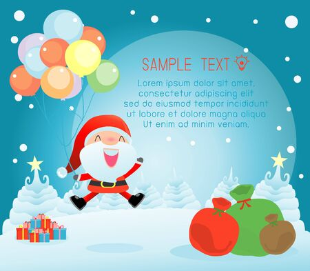 christmas poster: Merry Christmas, Happy new year, Merry Christmas design with wide copy space, Santa Claus,card, background card greeting, Vector Illustration