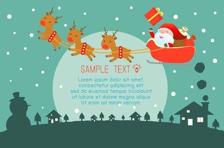 santa clos: Feliz Navidad, Feliz A�o Nuevo, Feliz Navidad de dise�o con copia espacio amplio, Santa Claus, tarjeta, tarjeta de felicitaci�n de fondo, ilustraci�n vectorial
