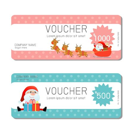 blank template: Gift voucher template and modern pattern. Voucher template with premium pattern, gift Voucher template with colorful pattern. Merry Christmas, Happy new year, bright concept. Vector illustration