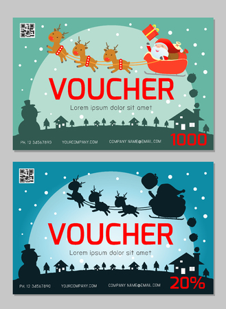 Gift voucher template and modern pattern. Voucher template with premium pattern, gift Voucher template with colorful pattern. Merry Christmas, Happy new year, bright concept. Vector illustration