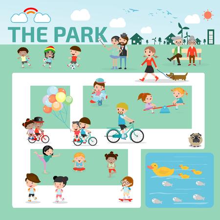 mensen in het park infographic elementen platte ontwerp illustratie vector Stock Illustratie