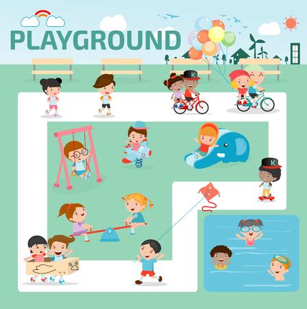 kinderen in de speeltuin infographic elementen plat ontwerp illustratie, kind in de speeltuin, de kinderen de tijd. geïsoleerd op een witte achtergrond, Vector Illustratie.