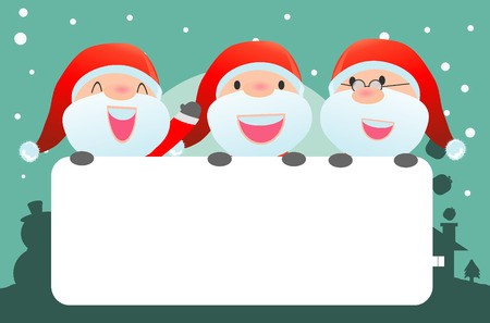 celebrate year: santa and greeting Christmas and New Year card, santa claus peeping behind placard, kids in santa claus costume characters celebrate, Cute little christmas  collection, happy new year, Vector