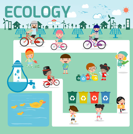ahorrar agua: el concepto de ecolog�a. ilustraci�n de dise�o plano, ni�os para el ahorro de la tierra, ahorre el mundo, la gente ahorra planeta, ahorre el concepto de la ecolog�a del agua, personaje de dibujos, infograf�as Ecolog�a