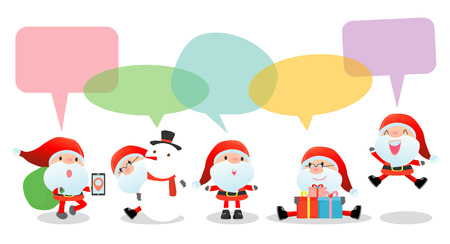 children santa claus: Cute santa with speech bubbles on white background, stylish children Santa claus Costumes with speech bubble, santa  talking with speech balloon. happy new year Vector Illustration, Merry Christmas Illustration