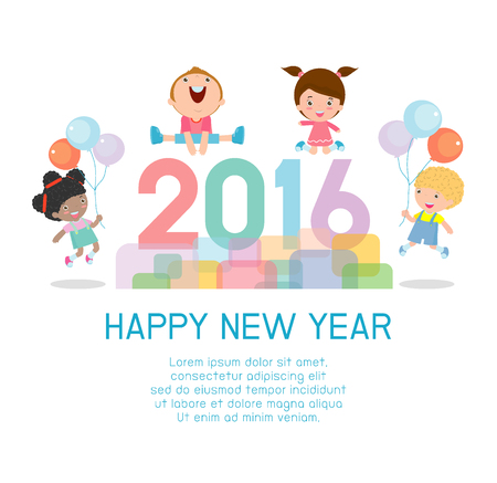 children background: Happy new year 2016, Colorful Happy New Year 2016 kids background, happy child jumping with Happy new year 2016, Vector Illustration Illustration