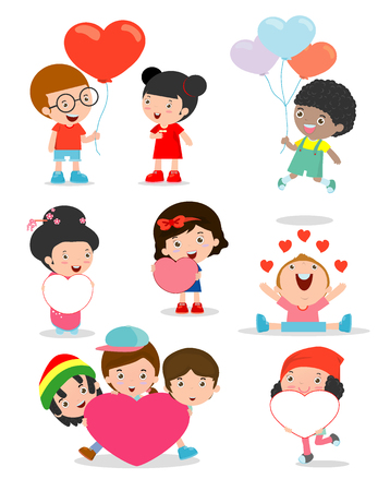 loving: kids with heart on white background ,Happy Valentines day,  Cute stick figure child holding Valentines Day hearts.