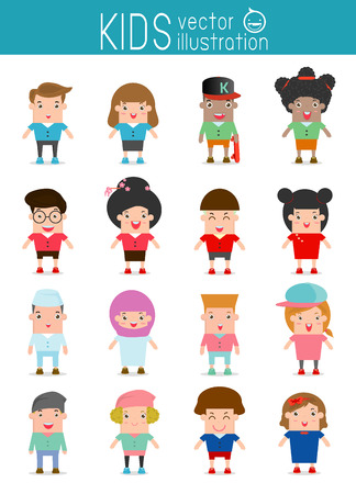 different: Set of diverse kids isolated on white background. Illustration