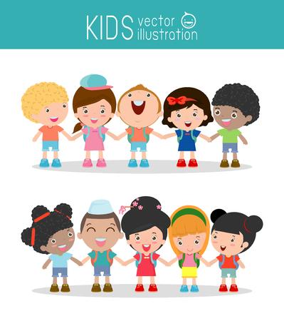 kid vector: niños tomados de la mano en el fondo blanco, los niños multiétnicos de la mano, muchos niños felices tomados de la mano, ilustración vectorial Vectores