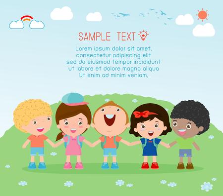 ilustración de los niños étnicos de múltiples manos, niños tomados de la mano en el fondo, los niños multiétnicos de la mano, muchos niños felices tomados de la mano, ilustración vectorial