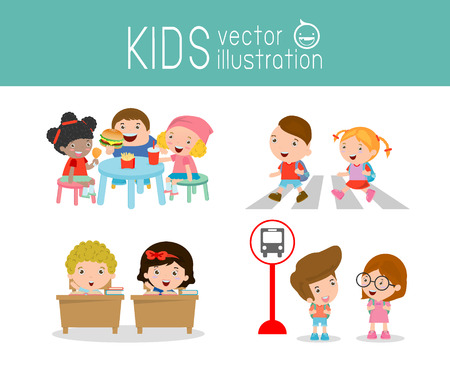 zebra crossing: kids activity in the kindergarten and outdoor , Children having food at the kindergarten ,kids walking across zebra crossing, child waiting at bus stop, kids in classroom, education, back to school, Illustration
