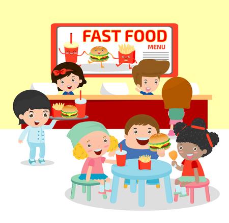 ristorante: Bambini felici che mangiano un hamburger e patatine fritte in un fast food, l'atmosfera all'interno del ristorante fast food, i bambini ordinare cibo in un ristorante fast food, illustrazione