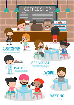 Coffee shop. urban society concept. infographic element. flat icons cartoon design. illustration. isolated on white background. elements of coffee shop infographic. Ilustração