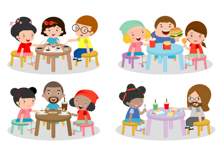 children eating: set of Family sitting at dining table, family eating dinner, kids eating Fast Food,  family eating sushi, family eating breakfast, friends sitting and chatting in cafe, illustration