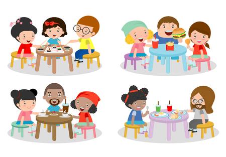 zestaw Rodzina siedzi przy stole jadalnym, rodzina jedzenia kolacji dzieci jedzenie fast food, rodzina jedzenia sushi, rodzina jeść śniadanie, przyjaciół siedząc i rozmawiając w kawiarni, ilustracji Ilustracje wektorowe