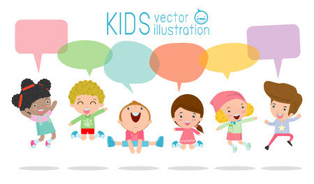 multi ethnic group: Cute kids with speech bubbles, stylish children jumping with speech bubble, children talking with speech balloon. jumping kids, Multi-ethnic children jumping, Kids jumping with joy,Illustration Illustration