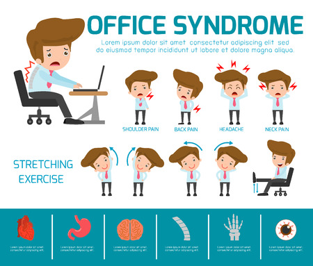 accident: Infographic office syndrome Template Design,. health concept. infographic element. vector flat icons cartoon design. illustration. on white background. isolated, Concept Vector illustration.