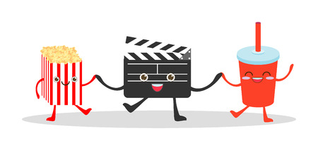 movie camera: art, beverage, board, bottles, camera, caricature, carton, cartoon, character, children, cinema, cinematography, clap, clapboard, clapper, cola, comedy, comic, cool, corn, cute, director, enjoyment, entertainment, fast, film, food, funny, happiness, illus