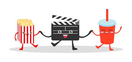 camara de cine: arte, bebidas, tabla, botellas, cámara, caricatura, cartón, dibujo animado, carácter, niños, cine, cinematografía, clap, tablilla, badajo, refrescos de cola, comedia, cómico, fresco, maíz, lindo, el director, el disfrute, entretenimiento, rápido, cine, comida, divertido, felicidad, illus Vectores