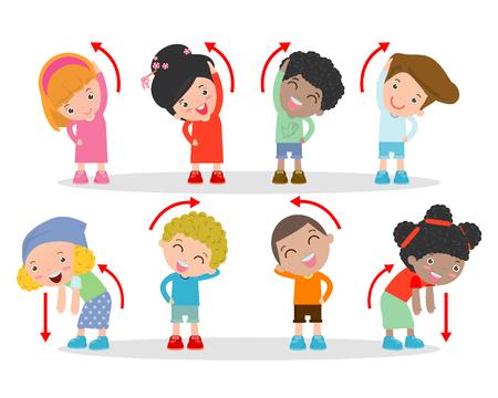 Ilustración de los niños ejercitan, los niños hacer ejercicio, hacer ejercicio niño, niños felices que ejercitan Ilustración de vector