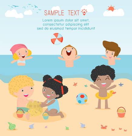 teenagers having fun: kids on the beach , children playing on the beach, Happy kids building sand castles and playing beach ball,childrens summer activities