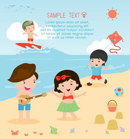 teenagers having fun: kids on the beach , children playing on the beach,childrens summer activities Illustration