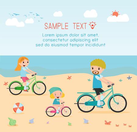 kinder spielen: Familie und Kinder Fahrräder Reiten am Strand.