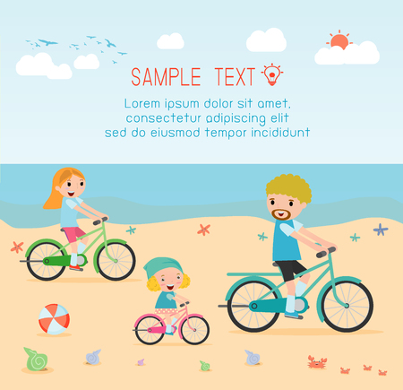 family and kids riding bikes on beach. Vector Illustration