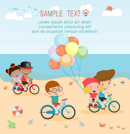 teenagers having fun: Kids cycling on the beach, kids riding bikes on beach. Illustration