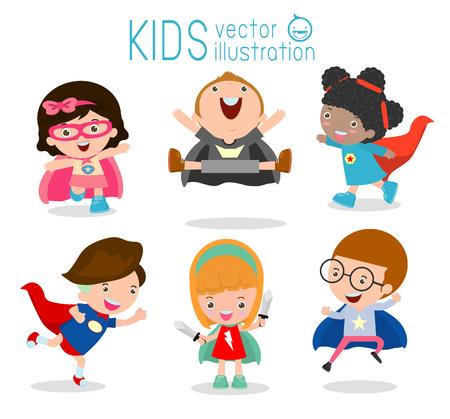 , Supereroe bambini, bambini con costumi Superhero set, i bambini in caratteri costume da supereroe isolato su sfondo bianco, Carino Supereroe, collezione per bambini supereroe per bambini Vettoriali