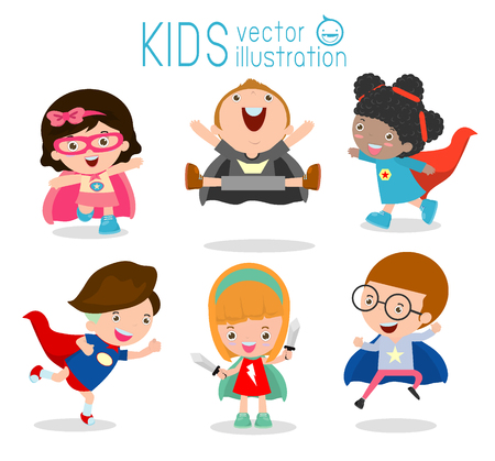 cartoon kids: Superhero Childrens, Superhero Kids,Kids With Superhero Costumes set, kids in Superhero costume characters isolated on white background, Cute little Superhero, Childrens collection