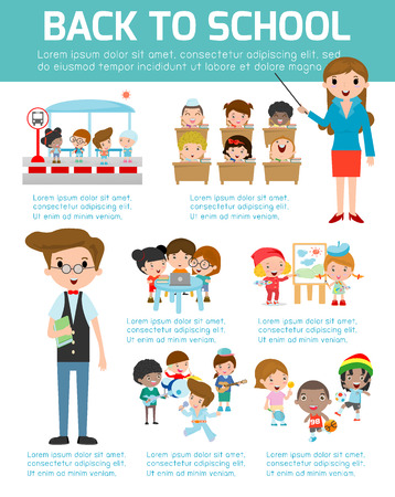 cartoon school: Back to school Infographic, School infographics element, Education infographic, Creativity,  idea, students, Back to school set with charts and other elements.