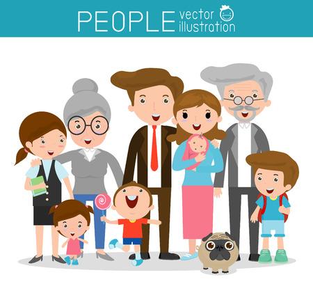 gran familia, la familia y los niños, la familia y los niños, la vida familiar, el conjunto de la familia feliz, familia, madre, padre, niña, niño, Ilustración