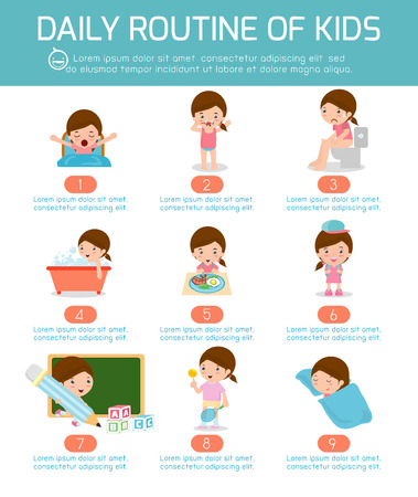 wake: daily routine, daily routine of happy kids . infographic element. Health and hygiene, daily routines for kids, Vector Illustration.