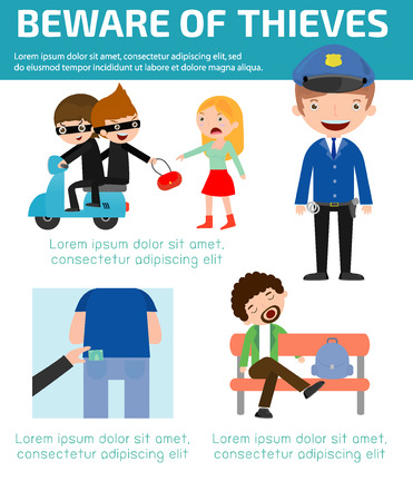pilferer: Beware of thieves ,infographic background concept. Vector Illustration Illustration