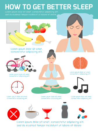 stance: how to get better sleep, tips and tricks for better sleep, isolated flat illustration on white   background, sleep infographics, vector illustration.